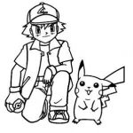 Pokeball, Ash and Pikachu free pokemon coloring pages