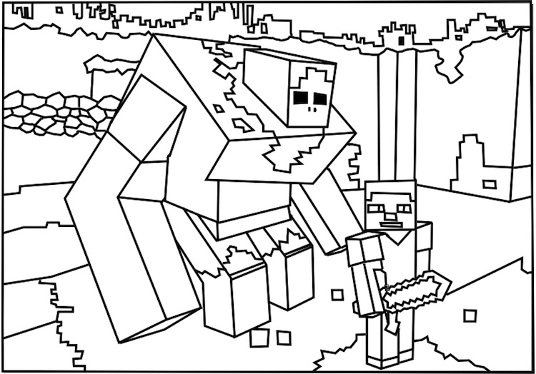 Minecraft coloring page with a picture of a creeper to color ... | 524x750