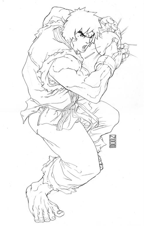 Street Fighter Free Coloring Images Pages To Print With Ryu Ken