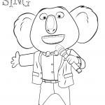 Sing characters movie Ash, Johnny, Meena, Mike free coloring pages to print