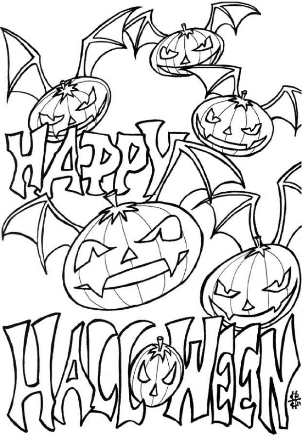 Pumpkin Head And Halloween Free Printable Coloring Pages