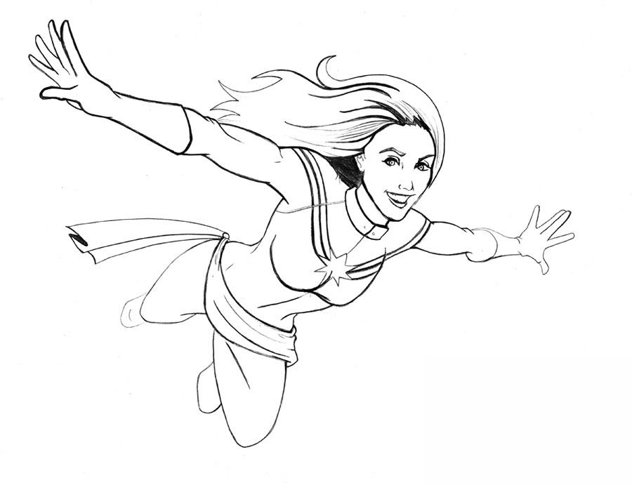 Captain Marvel free printable coloring pages - Colorpages.org