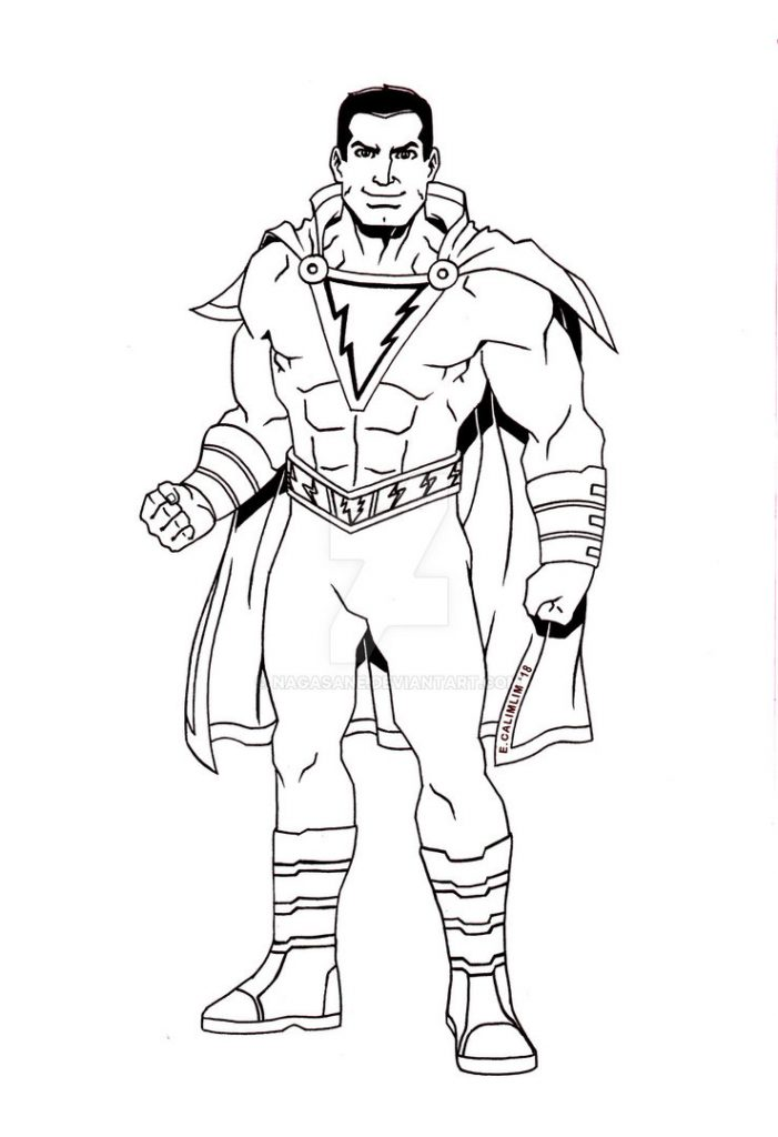 Shazam free coloring printable pages – Colorpages.org