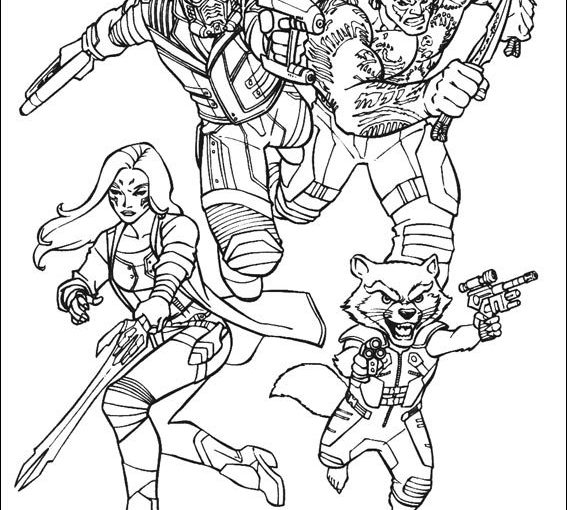Guardians of the Galaxy free printable coloring pages Groot Gamora Star lord Drax Rocket