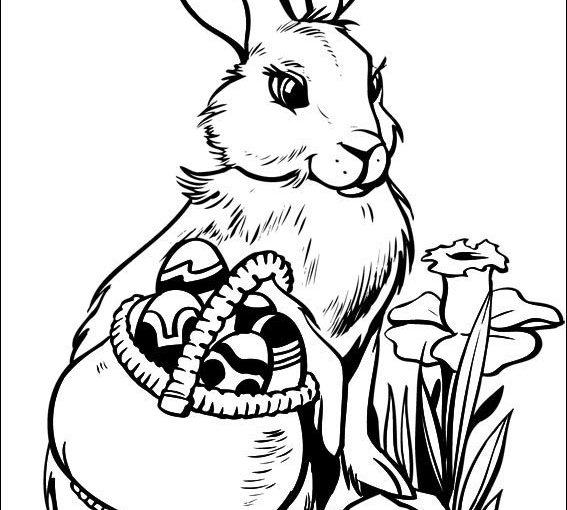 Easter bunny and eggs free printable coloring pages to print